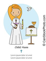 First communion card. Little girl with a candle and a bible