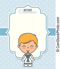 First communion card. Praying boy with space for text