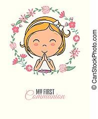 Praying girl inside a flower frame