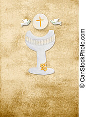 first communion card vertical parchment chalice - first...
