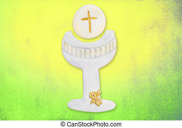 first communion cards, cute chalice - chalice and wafer cute...