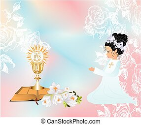 first communion, - background with the girl and...