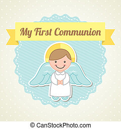 first communion over white background vector illustration