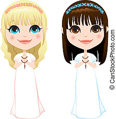 First Communion Girls - Sweet blonde and brunette girls in...