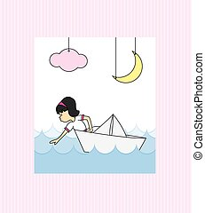 Girl in a paper boat - First Communion Invitation Card. Girl...