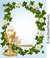 Image and illustration composition for First Holy Communion Invitation Border or frame for boy with gold text copy space