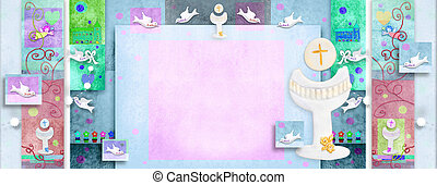 First Communion oblong invitation - Colorful First Holy...