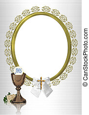 Image and illustration composition for First Holy Communion photo card Invitation Border or frame for thank you card with gold chalice and ornamental frame