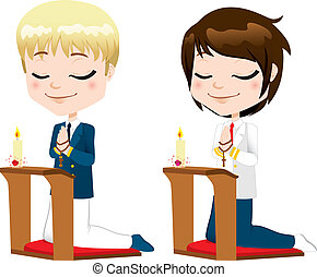 First Communion Prayer Boys - Cute boys kneeling down...