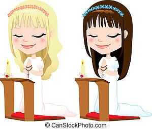 First Communion Prayer Girls - Cute blonde and brunette...