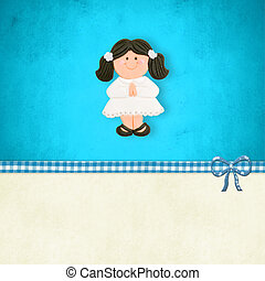 First Communion reminder card brown girl - My First Holy...