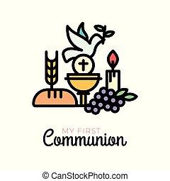 First communion symbols for a nice invitation design. Church...