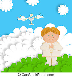 first communion thank you card blond child