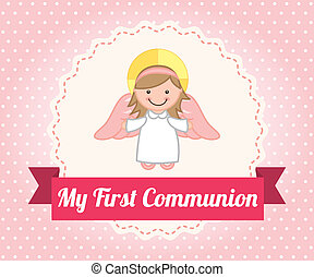 first communion over dotted background vector illustration