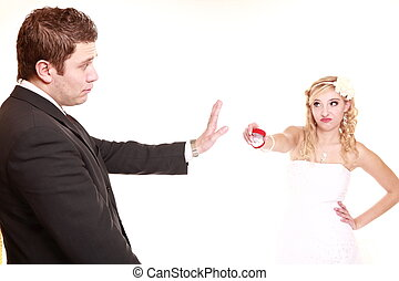 First crisis in marriage. Wedding couple relationship difficulties.