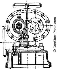 First cross section of the Greindl pump, vintage engraving.