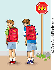 First Day of School - Bold and colorful vectors illustration...