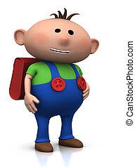 first day of school - boy smiling - cute boy with a satchel...