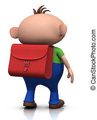first day of school - boy walking away - cute boy with a...