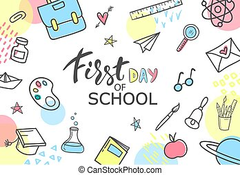 First day of school. Hand drawn school supplies on white background. Vector illustration