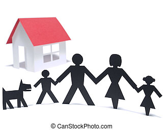 First family house - A paper family is holding hands beside...