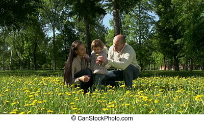 First Flowers - Family of three in the field, father...