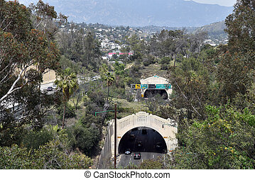 Tunnels of the Arryo Seco Parkway, now the Harbor Freeway in Los Angeles The first freeway built in the United States.