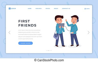 First friends landing page flat template. Boys wearing...