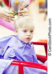 First haircut of little boy