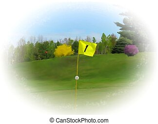 first hole flagstick - a digital painting