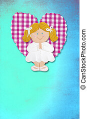 First Holy Communion Invitation Card, cute blond girl
