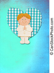 First Holy Communion Invitation Card, cute blonde boy