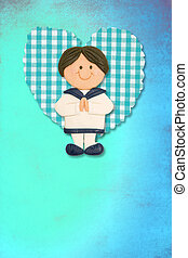 First Holy Communion Invitation Card, cute brunette boy