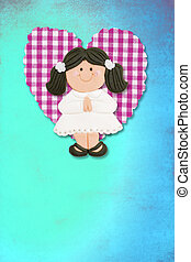 First Holy Communion Invitation Card, cute brunette girl