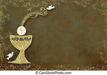 First holy communion invitation card. Golden chalice and ...