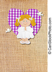 First Holy Communion Invitation Card, rustic style, funny blond girl