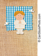 First Holy Communion Invitation Card, rustic style, funny blonde boy