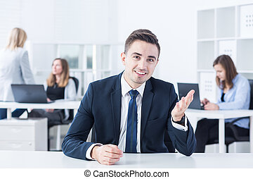 First job interview - Young man has his first job interview...