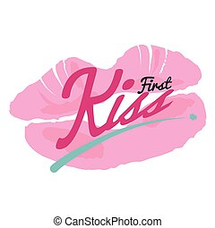 First Kiss Lipstick Kiss Vector