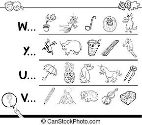 Cartoon Illustration of Finding Picture Starting with Referred Letter Educational Game for Preschool Children for Coloring