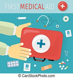 First Medical Aid kit and its Content. Equipment
