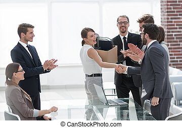 first meeting of a young employee with a business team