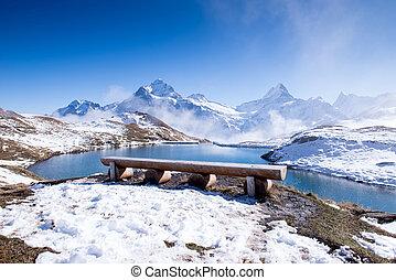 Bachalpsee and the snow peaks of Jungfrau region grindelwald switzerland