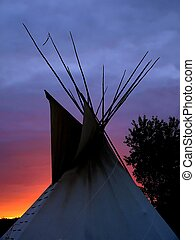 A tipi, or teepee, in northern plains Cree Style, taken in northwest Saskatchewan