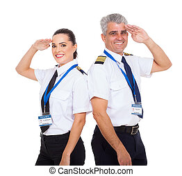 first officer and senior captain saluting
