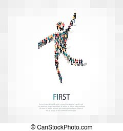Isometric set of styles, first , web infographics concept illustration of a crowded square, flat 3d. Crowd point group forming a predetermined shape. Creative people. - Vector Illustration. Stock vector.3D illustration.