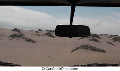 first person view drive - first person view on dunes of...