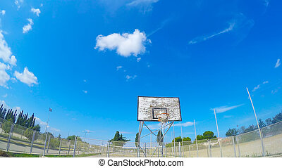 first person view of a basketball in a hoop