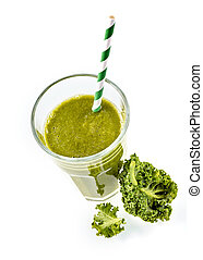 First person view of a kale smoothie