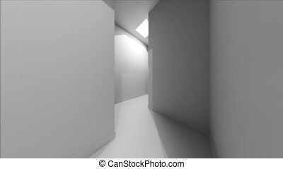 First person View of a Trip Through a White Walled Maze